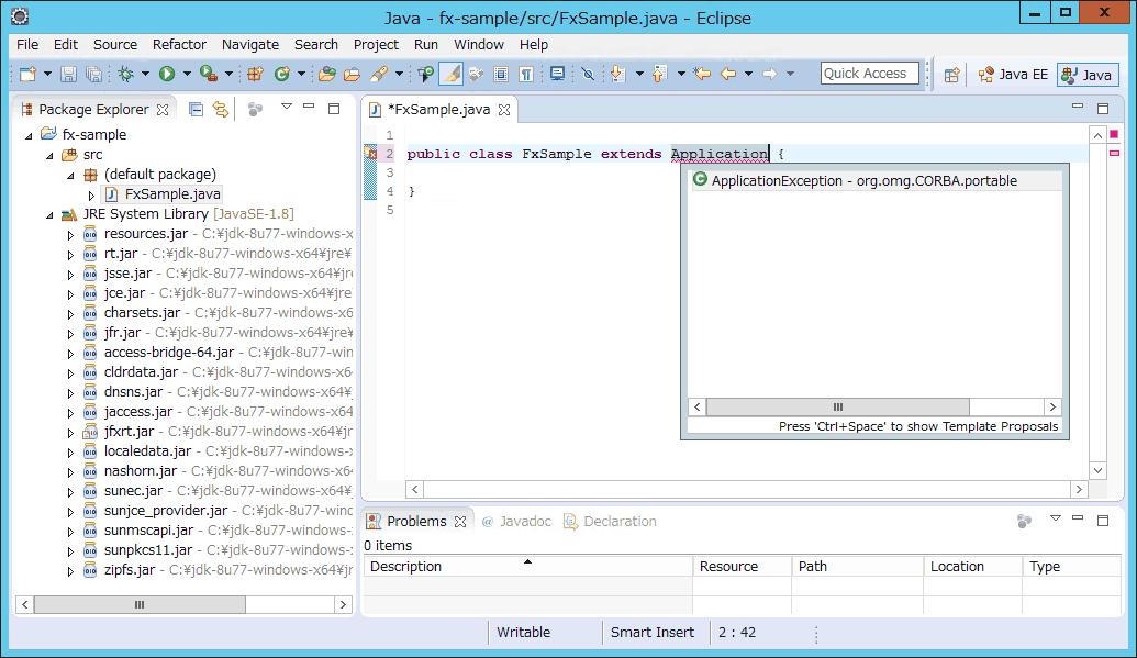 EclipseでJavaFXのコード補完が機能しないときの対処方法